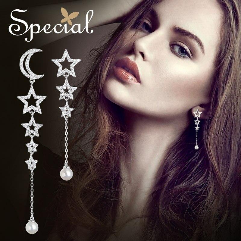Spécial mode 925 en argent Sterling boucles boucles d'oreilles lune et étoile longue boucle d'oreille perles naturelles bijoux cadeaux pour les femmes S2746E