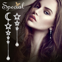 Special Fashion 925 Sterling Silver Drop Earrings Moon & Star Long Earring Natural Pearls Jewelry Gifts for Women S2746E