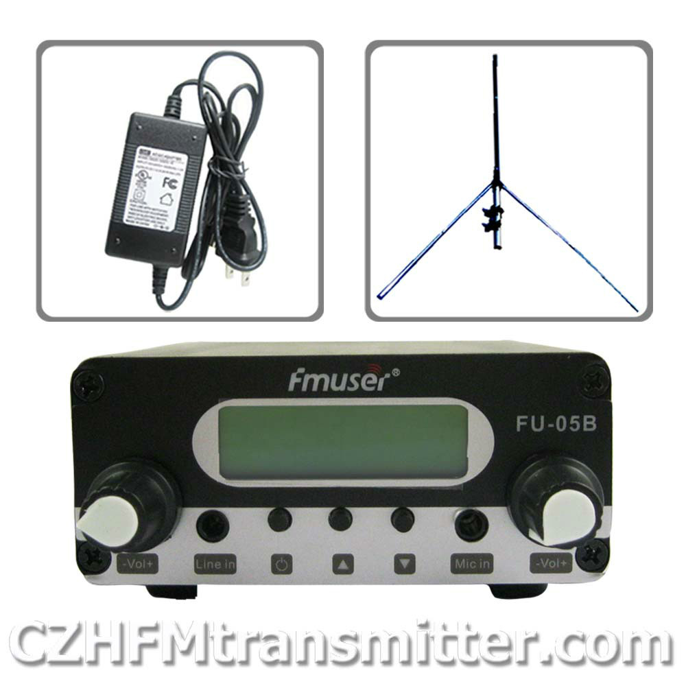 CZH CZE 0.5w  500mw CZE-05B FM broadcast transmitter +1/4 wave GP antenna+power supply kit niorfnio portable 0 6w fm transmitter mp3 broadcast radio transmitter for car meeting tour guide y4409b