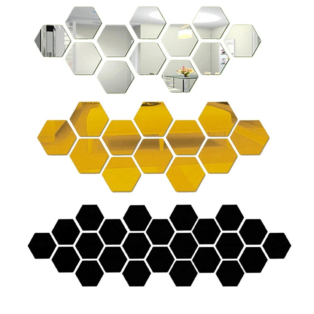 Urijk 12Pcs 3D Hexagon Acrylic Mirror Wall Stickers DIY Art Wall Decor Stickers Living Room Mirrored  Sticker Gold Home Decor