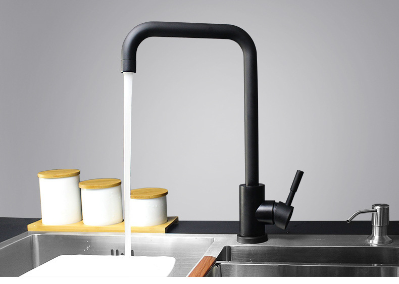 Free Shipping Modern Black Finish Brass Sloid Faucet Kitchen Sinks Faucet Rotate Hot And Cold Kitchen Faucet Kitchen Faucet Kitchen Sink Faucetfaucet Kitchen Aliexpress