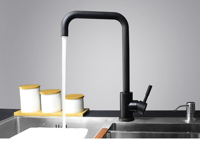 US $59.0 |Freies Verschiffen Moderne Schwarzen finish Messing sloid  Wasserhahn Küchenspülen Wasserhahn Drehen Warmen Und Kalten Küchenarmatur  in ...