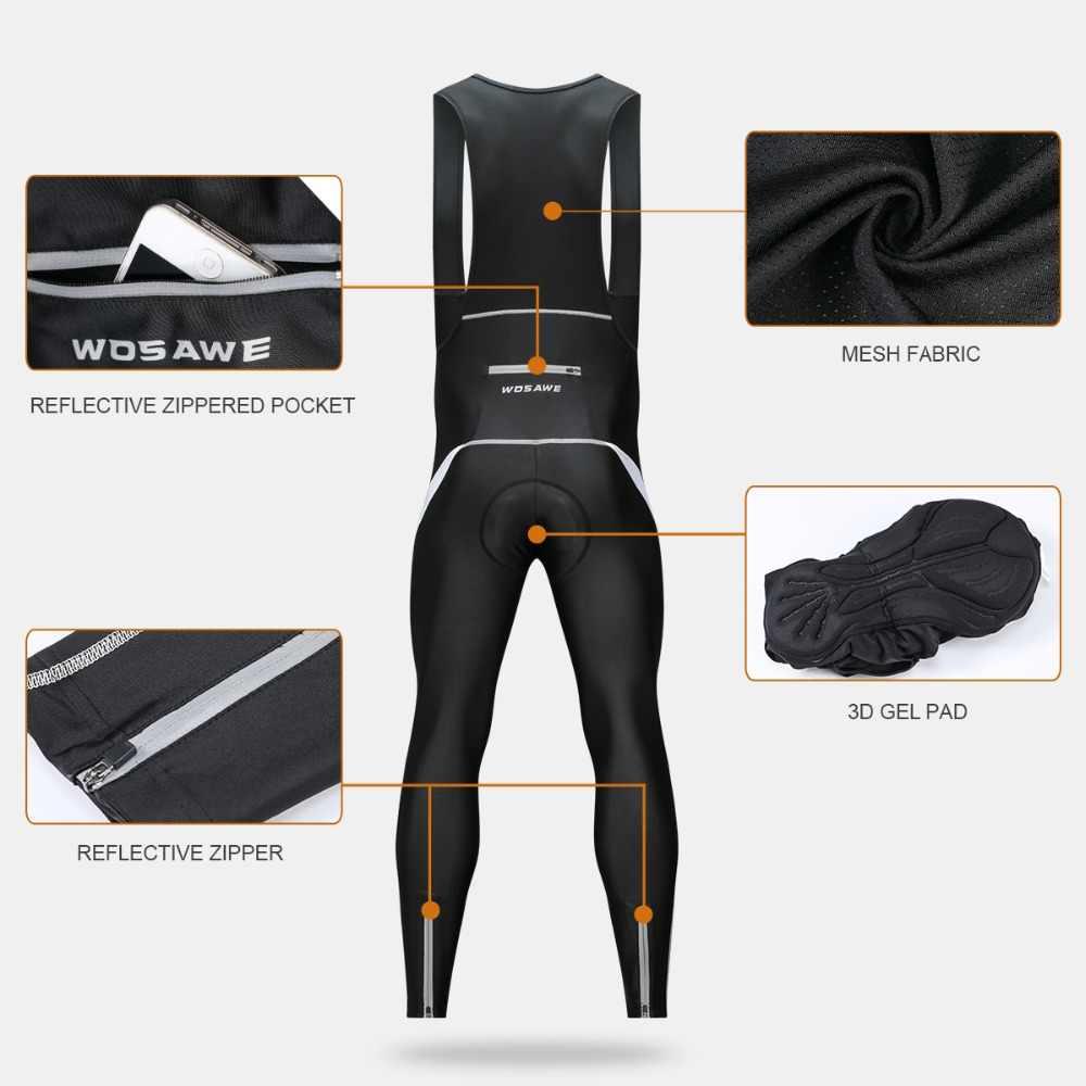 14cdc36b22 ... WOSAWE Mens Cycling Bib Tights 3D Padded Thermal Long Leggings MTB  Bicycle Racing Trousers Pro Team ...