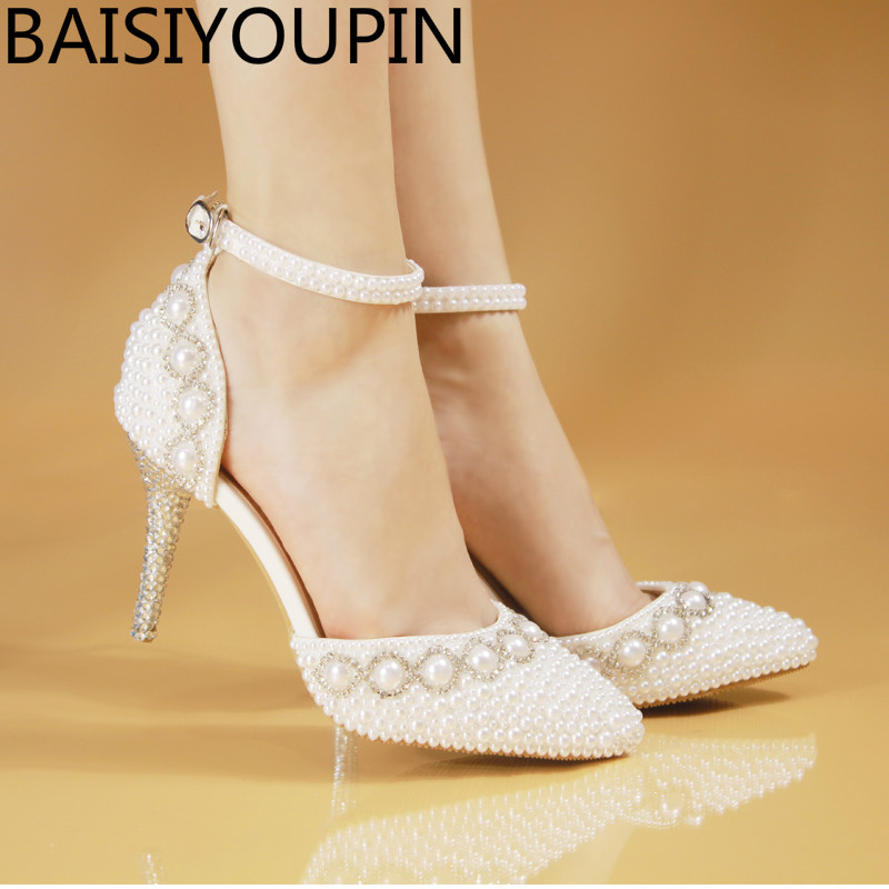 2018 Spring crystal sandals bride elegant princess pearl wedding dress shoes high heels white point pumps small big size 33  41 new pink red rhinestone diamond bride s shoes super high heels crystal bowl wedding shoes elegant sandals female pumps feminina