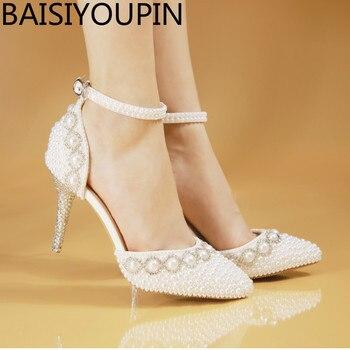 2018 Spring crystal sandals bride elegant princess pearl wedding dress shoes high heels white point pumps small big size 33  41