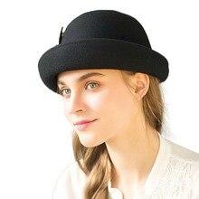 Donne Cloche Cappelli di Lana Cappelli stile Fedora e borsalino Cappelli  per le Donne di Modo a3359a738ec1