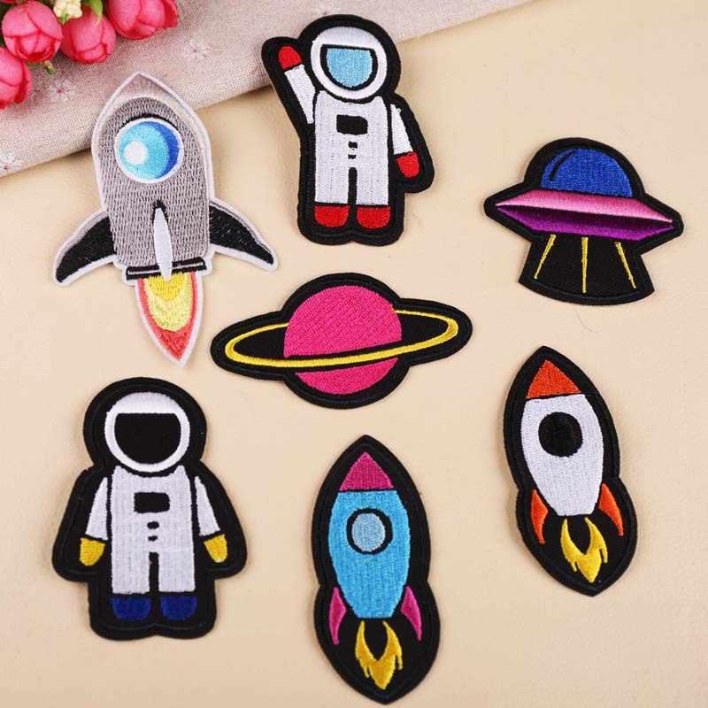 1 piezas astronauta cohete planeta parche bordado de transferencia de calor de hierro en parches para ropa decorativa apliques 47276