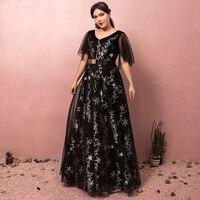 Плюс Размеры платье для выпускного вечера элегантный черный v образным вырезом Star Tulle Parttern Sequines строгое длинное вечернее платья выпускного