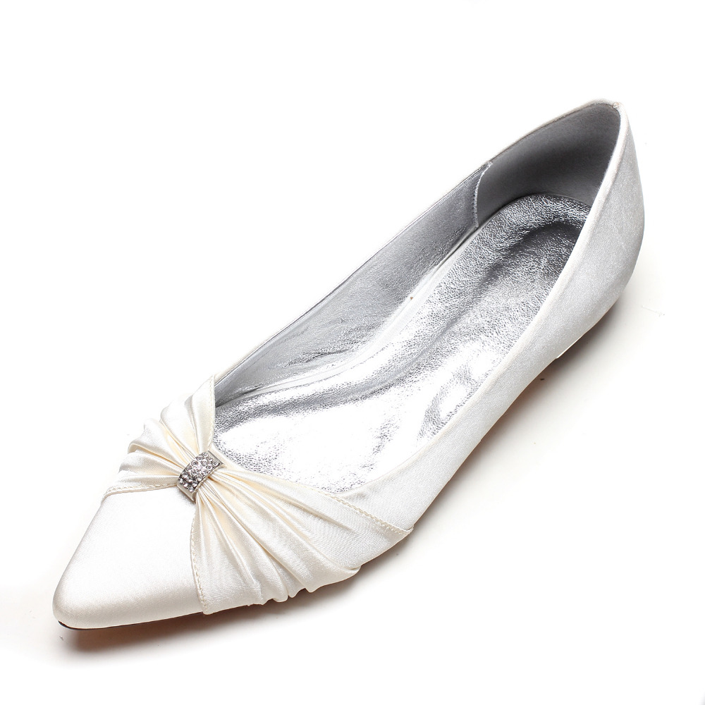 Detail Feedback Questions about Creativesugar pointed toe lady satin evening  dress shoes flat elegant know with crystal bridal wedding prom flat  champagne ... 28716c5f18c5