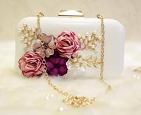 New Arrival Ladies Evening Bag Bead Clutch Chain Bags High Quality Wedding Bags Black And White