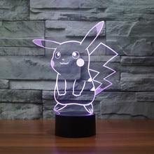 font b 2017 b font New Pokemon Lamp 3D Pikachu Night Light Halloween font b