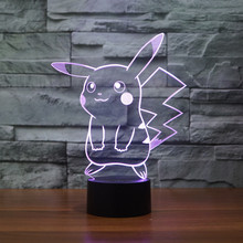 2017 New Pokemon Lamp 3D Pikachu Night Light Halloween Kids Toys Holiday Gifts USB Light Pocket Monsters for Children