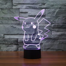 2017 New Pokemon Lamp 3D Pikachu Night Light Halloween Kids Toys Holiday Gifts USB Light Pocket Monsters for Children(China)