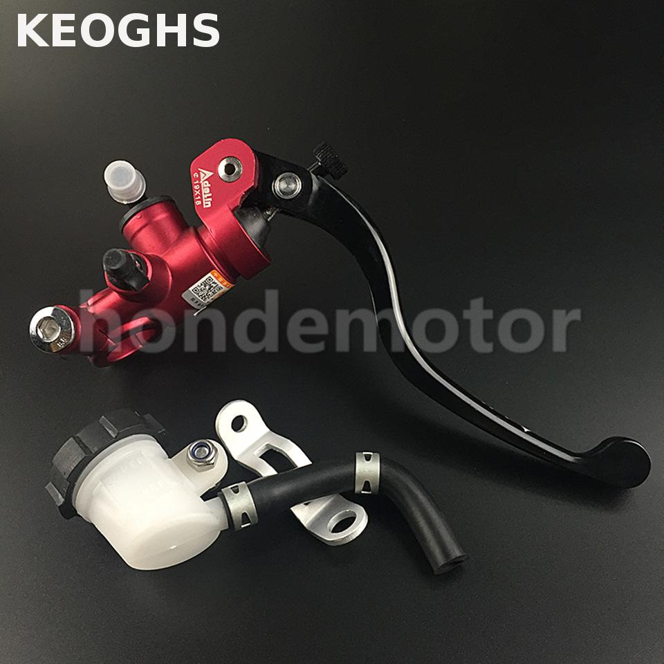 KEOGHS Adelin motorcycle Brake Master Cylinder Hydraulic 19X18mm FOR HONDA R1R3R6 FZ6 GSXR600 750 1000 ZX-6R Z750 Z800 kawasaki keoghs real adelin 260mm floating brake disc high quality for yamaha scooter cygnus modify