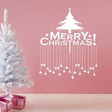 Merry Christmas Tree Wall Stickers Christian Home Decoration DIY PVC Shop Window Reindeer Festival Mural