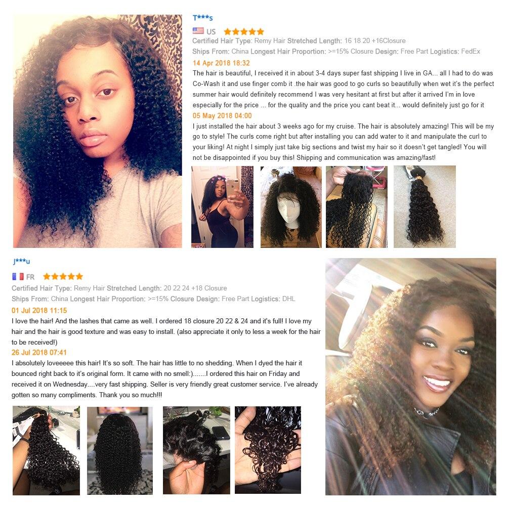 Sapphire Kinky Curly Human Hair 3 Bundles With Closure Brazilian Hair - Hair Salon Supply - Photo 3