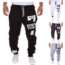 Мужские брюки для бега мужские брюки Нью-йоркские брюки с принтом Мешковатые Свободные Повседневная футболка с принтом спортивные брюки мужские брюки Новинка