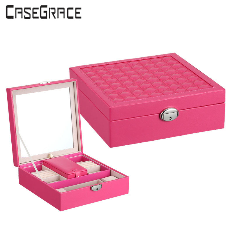 Creative Bistratal Luxury Leather Jewelry Cosmetic Case With BIG - Home Storage and Organization