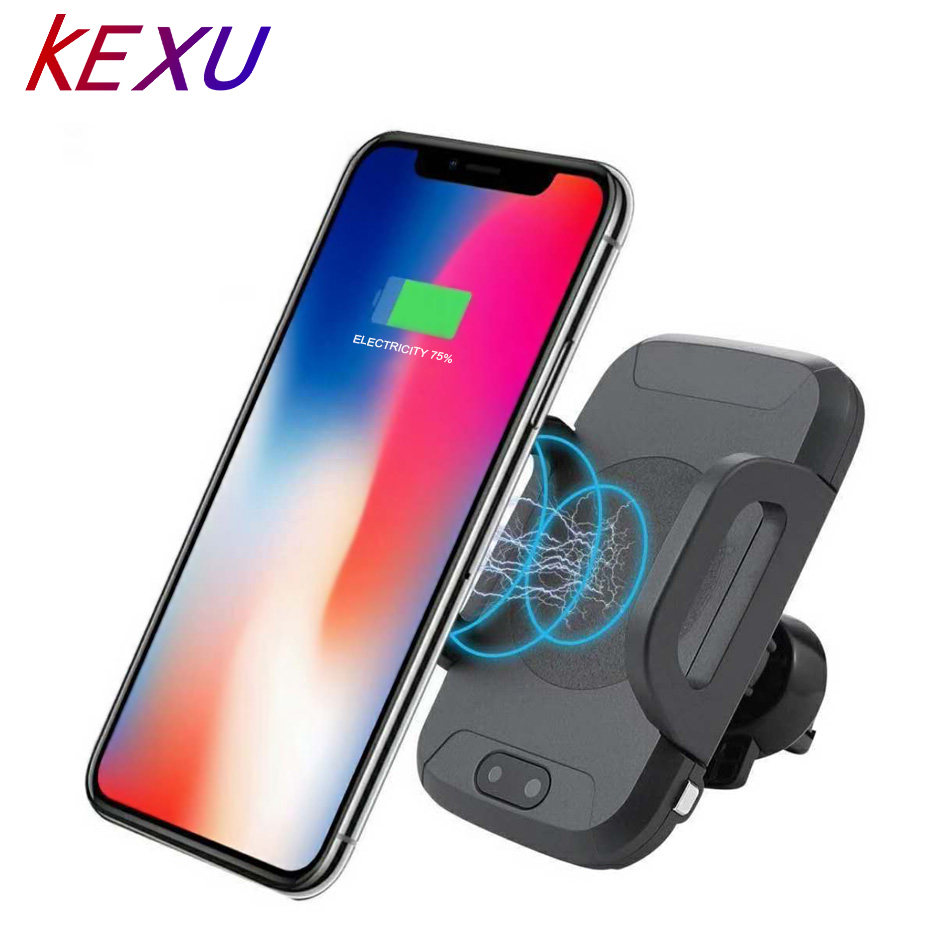 Qi Mount Wireless Car Charger 10W  Easy Touch Automatic IR Vehicle Phone Mount Holder for Samsung Galaxy S9 S7 Note 8 iPhone X 8