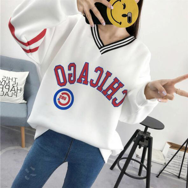 Spring Autumn New Style Womens Hoodies Letters Print Long Sleeve V Neck Thick Ladies Sweatshirt Loose Sweat Femme