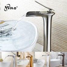 купить Waterfall Basin Faucets Bathroom Single handle Basin Taps Drawing Chrome Tap Bathroom Accessories Single handle Mixer Faucet A17 дешево