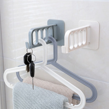 Non-Marking Plastic Hanger Hook Wall-Mounted Clothes Storage Rack Wall Multi-Function Folding Sticky