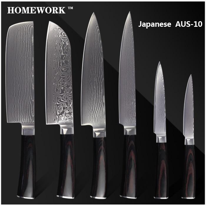 XYJ Brand Damascus Knives 8 Inch Chef Slicing 7 Chopper Santoku 55 Utility Knife AUS 10 Damascus Steel Kitchen Knives Set