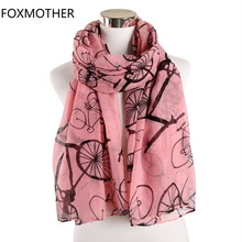 FOXMOTHER New Fashion Pink Grey Color Bicycle Print Scarf For Women Mother Gifts