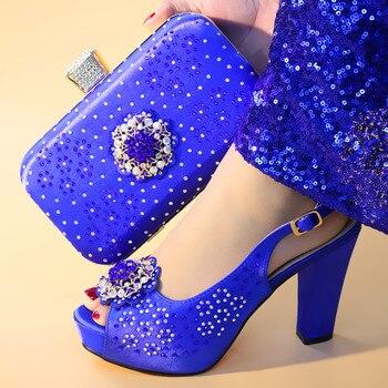 Итальянский комплект из туфель и сумочки синего цвета, украшенный стразами, комплект из обуви и сумки в африканском стиле для вечеринки, Жен