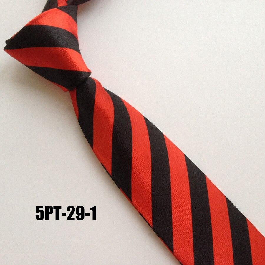 5cm Young Men Narrow Tie Fashion Satin Striped Necktie Red With Black Stripes Poly Gravata