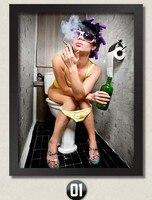 Новая Горячая Туалет Sexy cool леди холсте настенная живопись главная современного искусства стены для Баре Отеля Туалет Кофе декор НЕТ Кадров