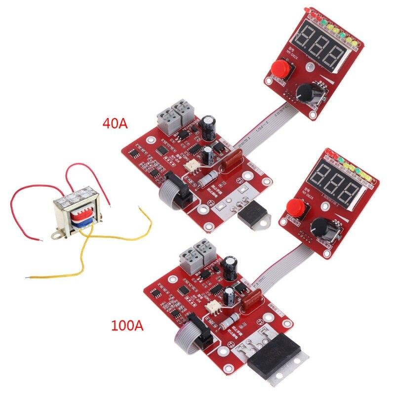 100A/40A Double Pulse Encoder Spot Welder Welding Machine Time Current Control Free June18 Whosale&DropShip