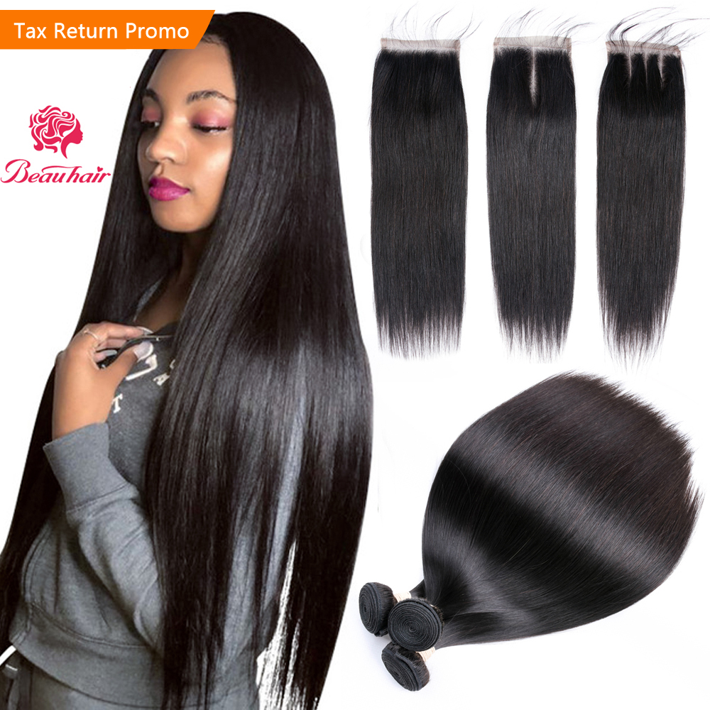 Beau Hair Ear to Ear Lace Frontal Closure With 3 Bundles brasileño - Productos de belleza