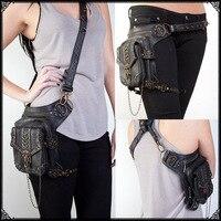新しい ファッション レディース ポケット バッグ用勇岩女の子で チェーン と リベット でき引き分け た周り ウエスト または メッセンジャー/ショルダーバッグ