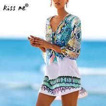 New Beach Caftan Swimsuit Cover Up Print Chiffon Pareo Women Robe Plage Swimwear Dress Sexy Sarong Tunic Beachwear Praia
