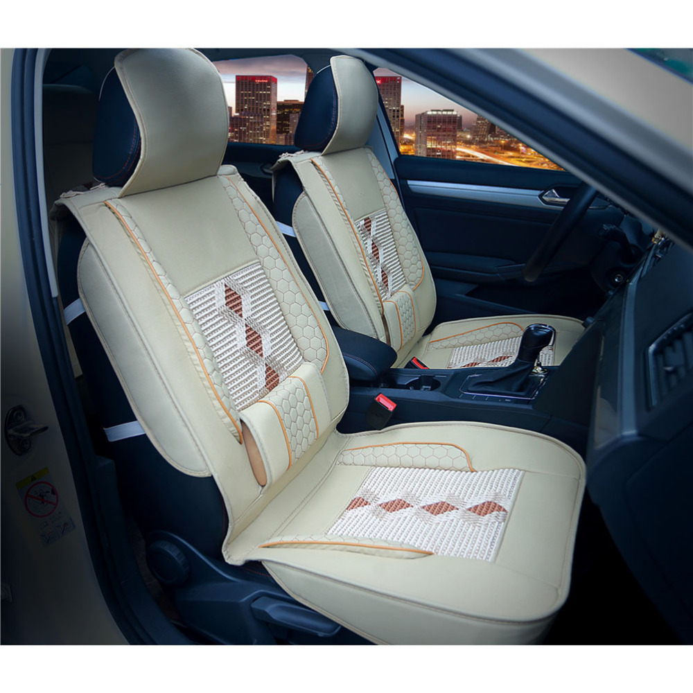 1 Piece Grade Leather Ice Silk Car Front Seat Cover Breathable Car Seat Cover Universal Seat Cover for Car Interior Accessories cover coa2 11