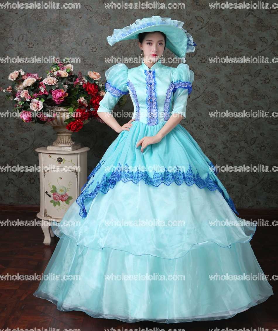 18th Century Sky Blue Lace Vampire Masquerade Ball Dress Civil War ...