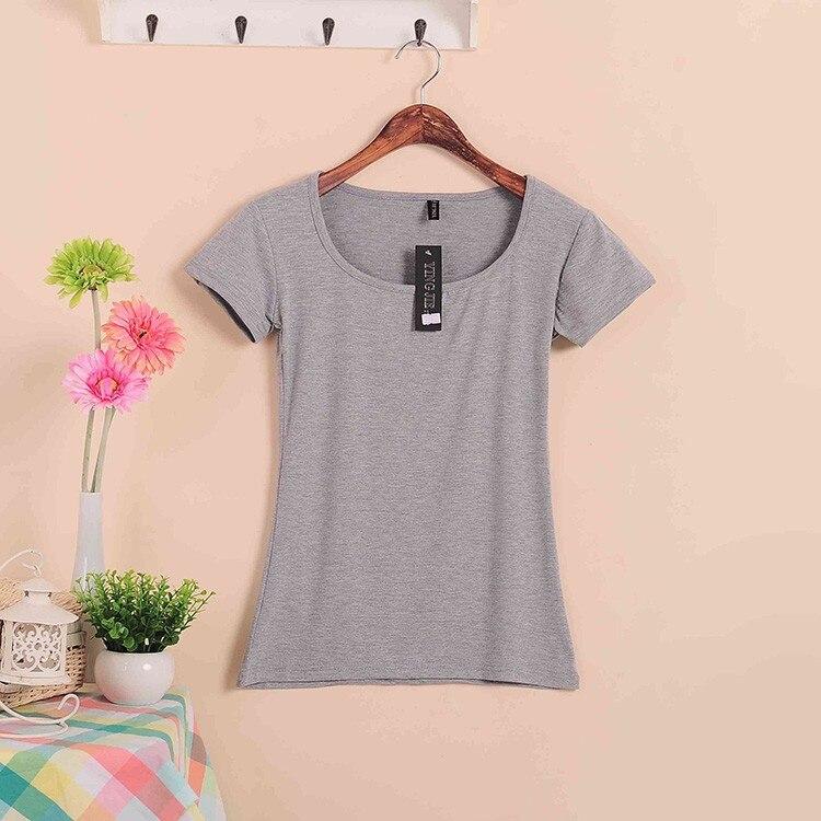 Базовые Стрейчевые топы размера плюс,, Летний стиль, короткий рукав, футболки для женщин, u-образный вырез, хлопок, женские футболки, повседневные футболки