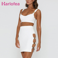 Karlofea Female White Strap Mini Dress Bustier Crop Top And Cut Out Short Dress Two Piece Sleeveless Outfit Bodycon Dresses