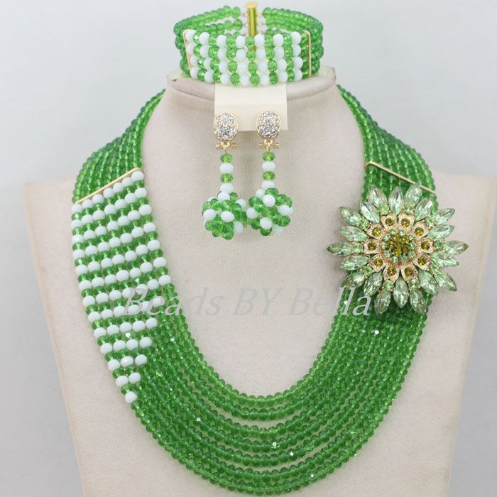 Green Beads Bridal Jewlery Sets Nigerian Wedding African Beads Crystal Necklace African Beads Jewelry Set Free Shipping ABF489
