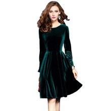 2017 plus size vestidos de inverno das mulheres de veludo verde escuro mulheres evening party dress elegant a-line robe automne femme hiver(China (Mainland))
