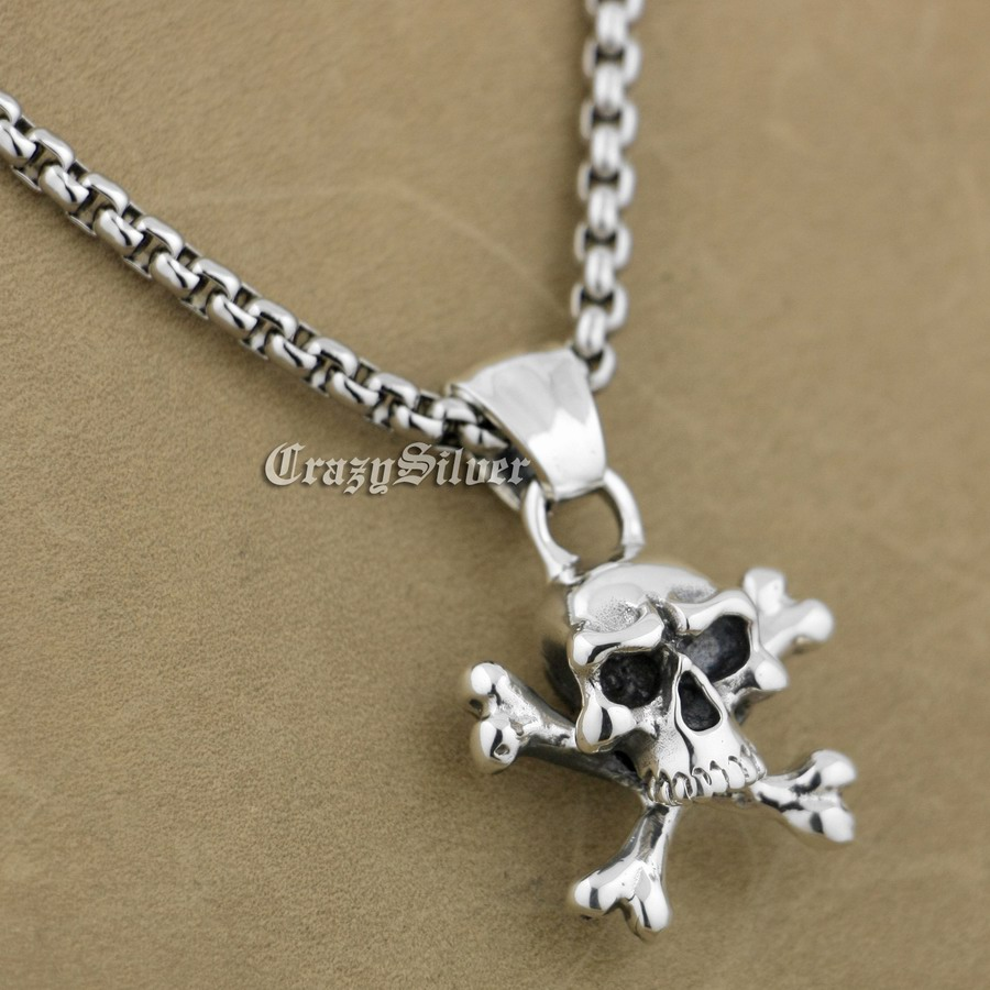 LINSION 925 Sterling Silver Pirate Skull Bone Mens Biker Rock Punk Pendant 9S003 linsion 925 sterling silver wire pliers pendant mens biker rock punk skull wrench pendant 8a032 stainless steel necklace 24