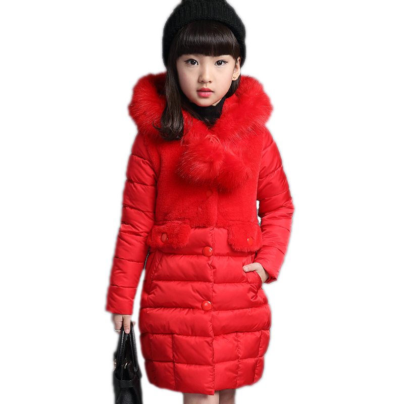 kids down coats and jackets 2017 new winter cotton-padded jacket medium-long thickening cotton-padded winter girl winter coat new winter 2015 women cotton padded clothes draw string of cultivate one s morality show thin fashionable