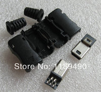 100pcs (sets) DIY straight Mini USB b 5 Pins Male Plug Connector Socket + Plastic for camera, mobile phone etc., Free shipping