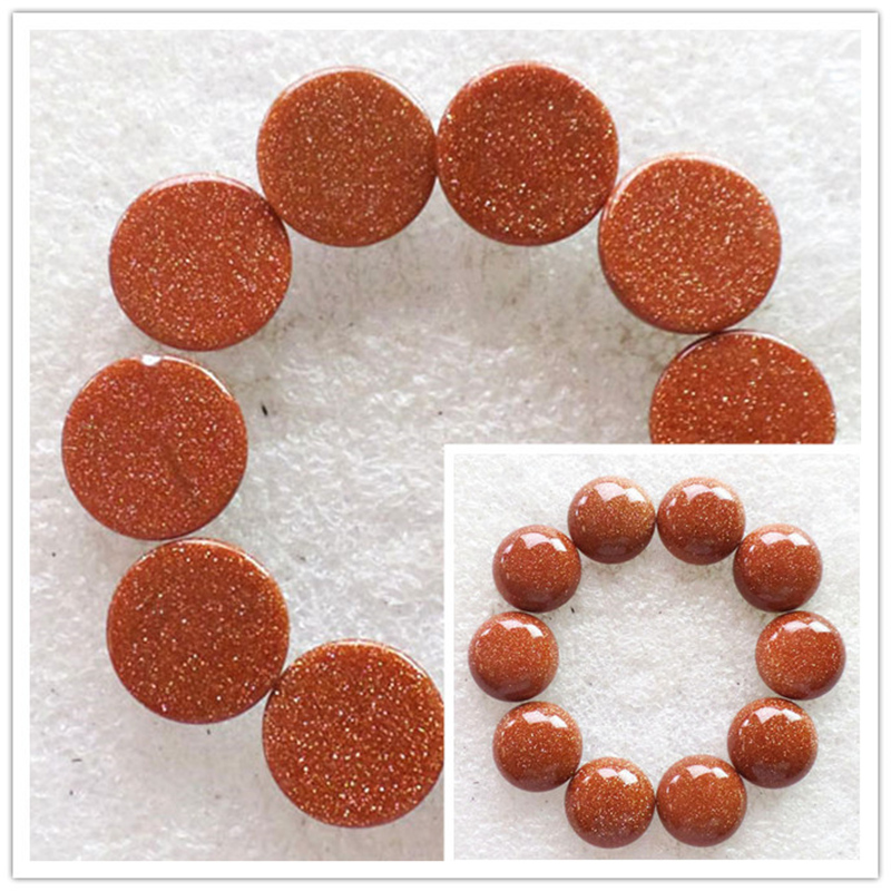 (10 pieces/lot) Wholesale Natural Gold Sand Stone Round CAB Cabochon 14x6mm Free Shipping Fashion Jewelry RO2023