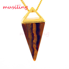 2016 The Pyramid Amethyst Moonstone Natural Stone Pendant Accessories European Fashion Jewelry 10pcs