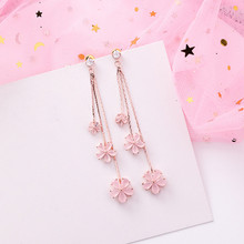 2019 New Pink Crystal Multilayers Flower Long Tassel Earrings For Women Girls Fashion Korean Temperament Party Pendientes