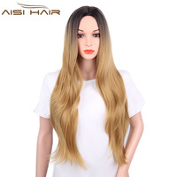 I S A Wig Long Blonde Wig Synthetic Wigs For Women Ombre Wavy Hair