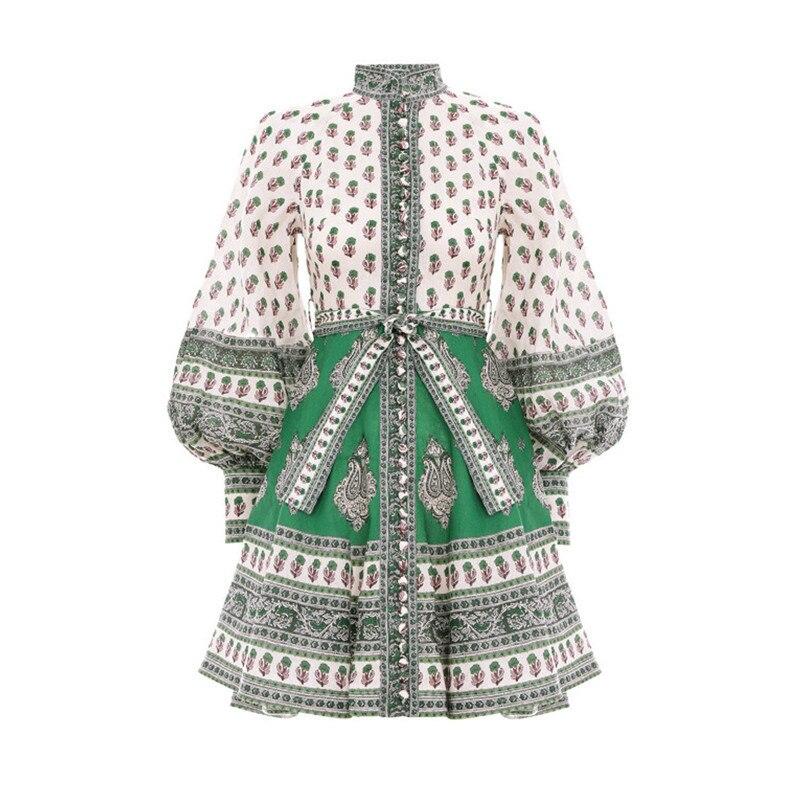 [LIVIVIO] Vintage imprimé Floral à manches longues bouffantes à lacets taille élégante dames Mini robe 2019 automne vêtements pour les femmes coréennes - 3