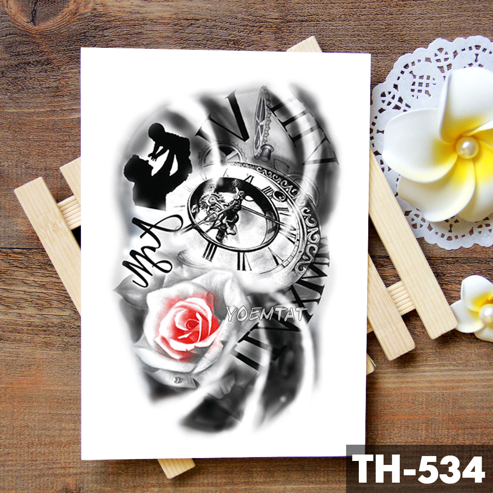 Family Rose Time clock Skull Temporary Tattoo Sticker Scorpion Tower Waterproof Tattoos Body Art Arm Fake Tatoo Men 3